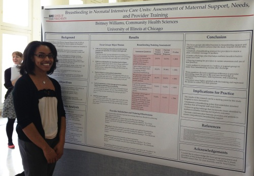 "Brittney Williams, presenting her poster, ""Breastfeeding in Neonatal Intensive Care Units: Assessment of Maternal Support, Needs, and Provider Training"""